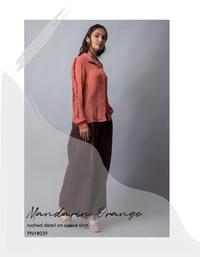 Mandarin Orange ruched detailed on sleeve shirt