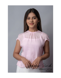 Powder Pink pleated on neck top