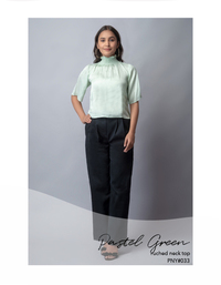 Pastel green ruched neck top
