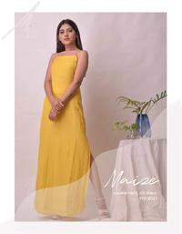 Maize square neck slit dress