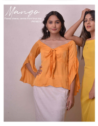 Mango flared sleeve centre front knot top
