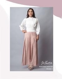 White elasticated waist top