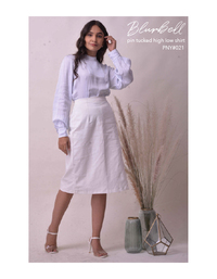 Blurrbell pin tucked high low shirt
