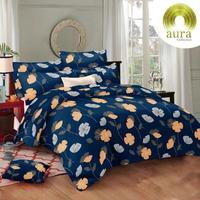 Aura Bed Sheet - King Size Cotton Bed Sheet - Blue