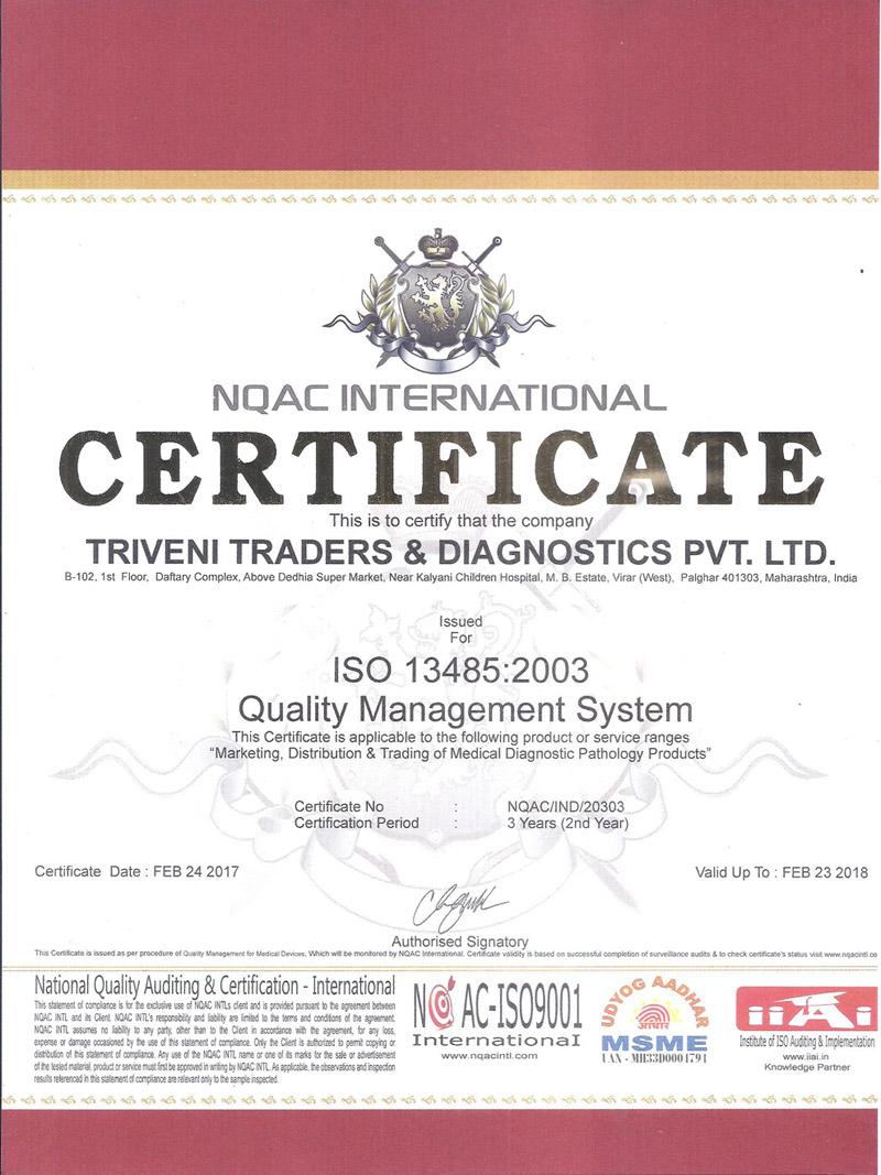 Certificate Triveni Traders Diagnostic Pvt Ltd