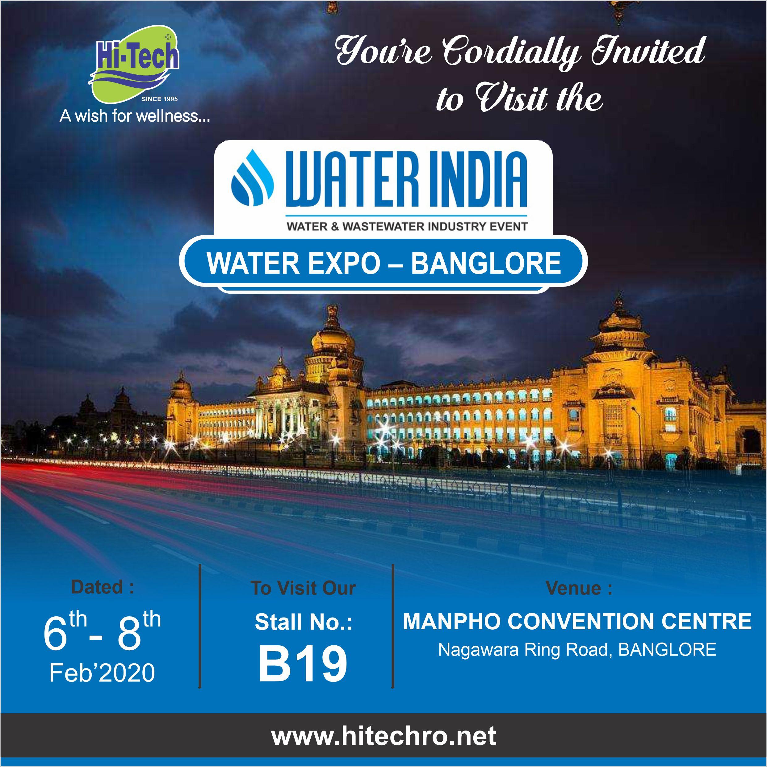 WATER INDIA WATER EXPO - 2020-Bangalore