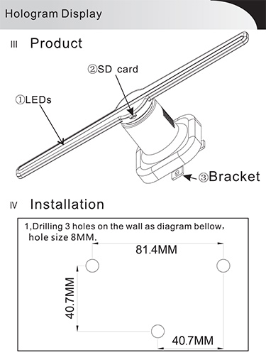 User Manual - How to Install 3d Holographic LED Fan