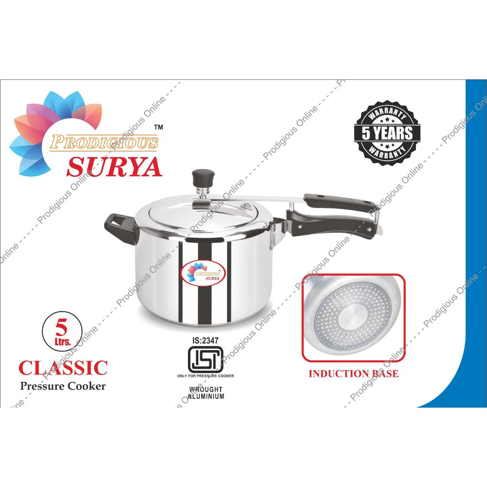 Prodigious Surya 5l Classic Pressure Cooker - Induction Base