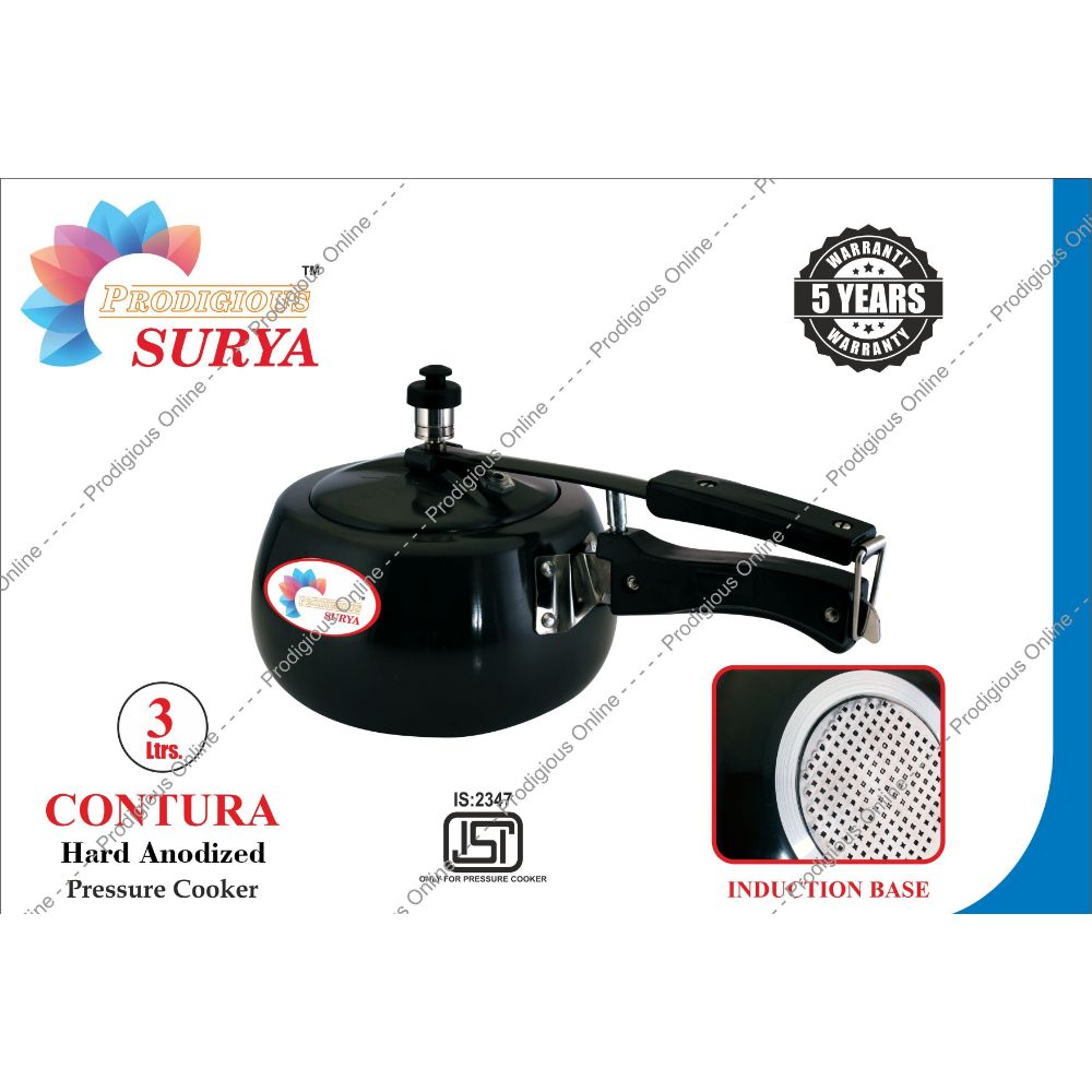Prodigious Surya 3l Contura Hard Anodized Pressure Cooker - Induction Base