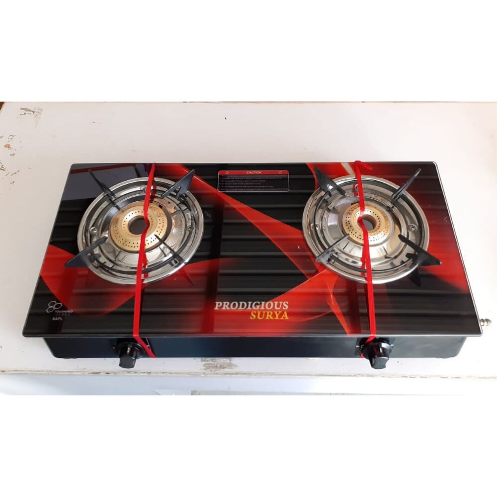 Prodigious Surya 2 Burner Smart Digital Glass Top Gas Stove - Fusion ci Burner - Flames