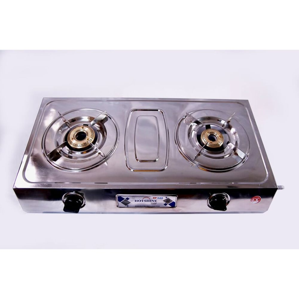 Surya Hotshine 2 Burner Stainless Steel Gas Stove With Brass Burner And Ss Pan Support weight With Box 3.6kg