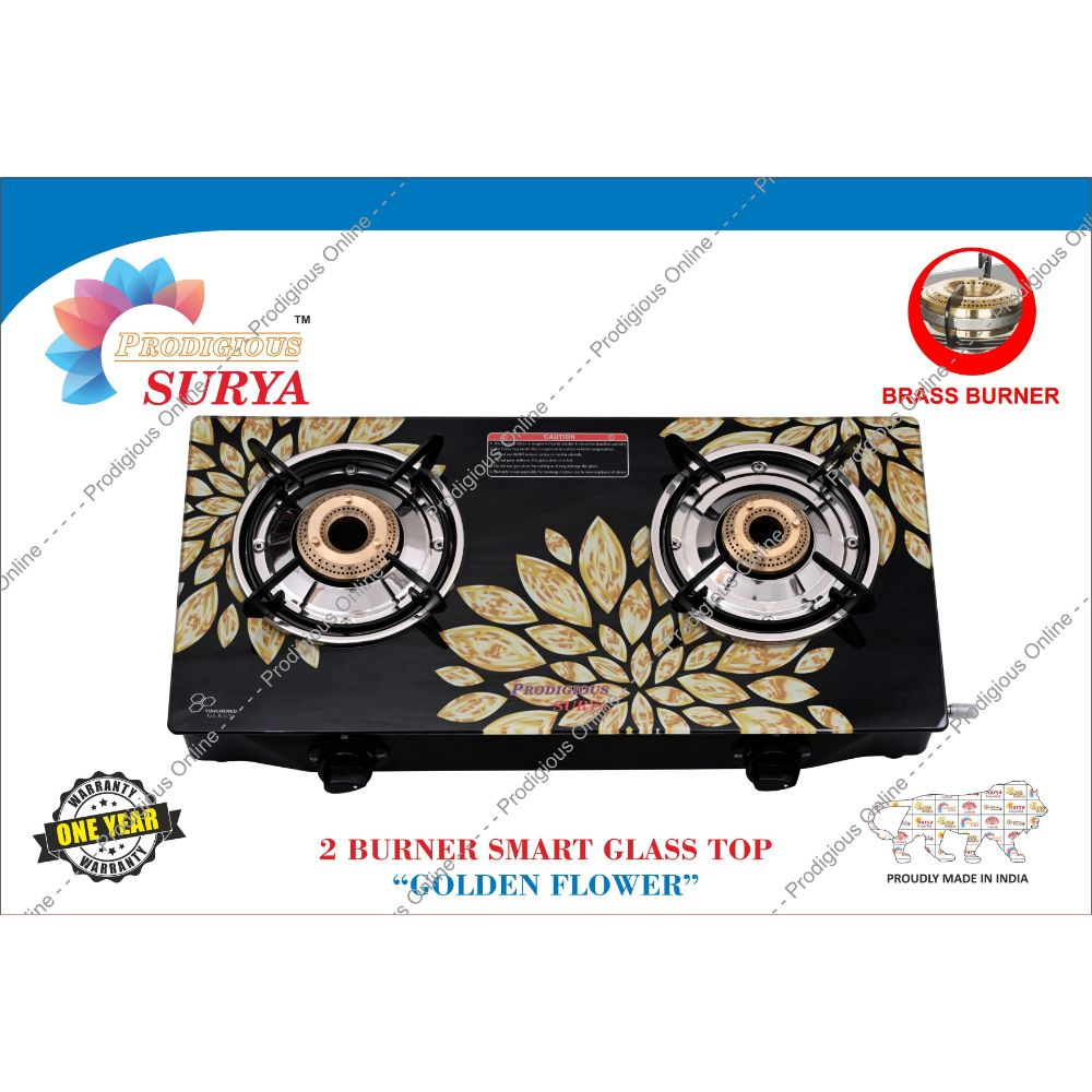 Prodigious Surya 2 Burner Smart Digital Glass Top Gas Stove - Brass Cut Size - Golden Flower