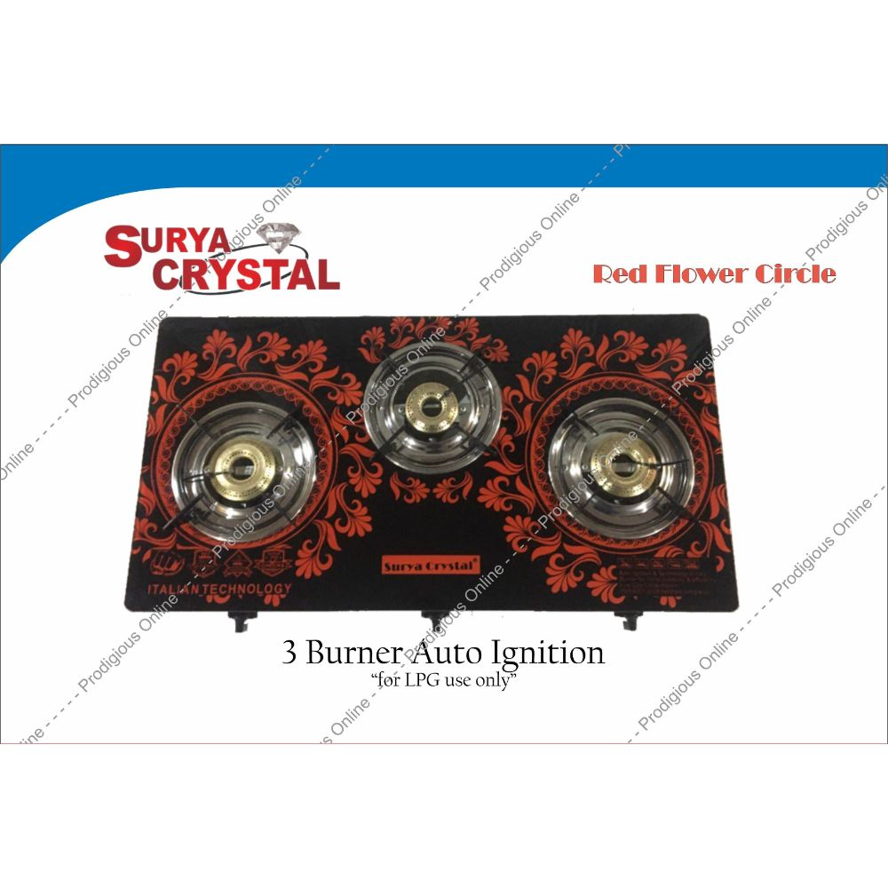 Surya Crystal 3 Burner Digital Glass Top Gas Stove With Auto Ignition - Red Flower Circle