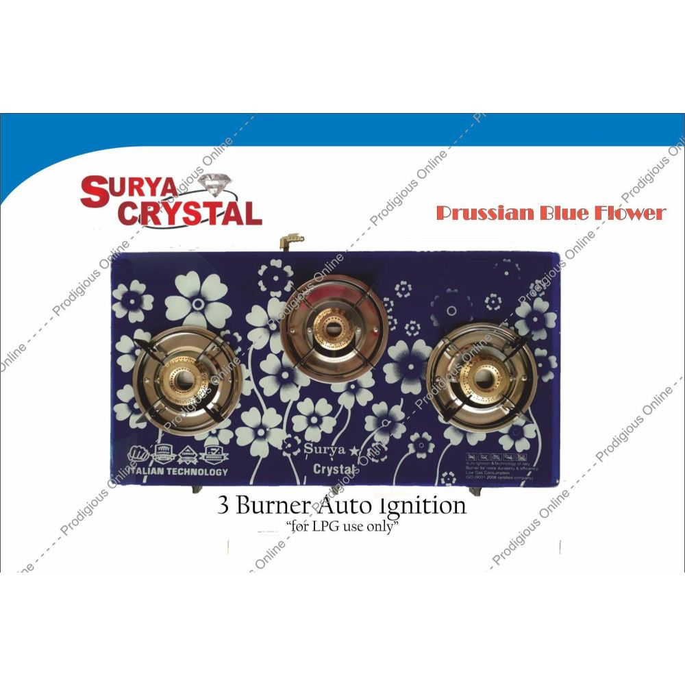 Surya Crystal 3 Burner Digital Glass Top Gas Stove With Auto Ignition - Prussian Flower