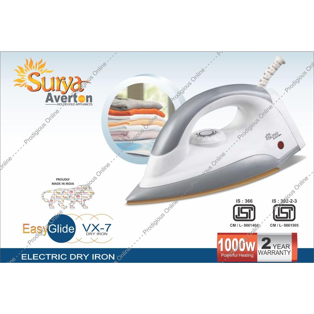 Surya Averton Vx-7 Dry Iron, 1000w - Double Isi