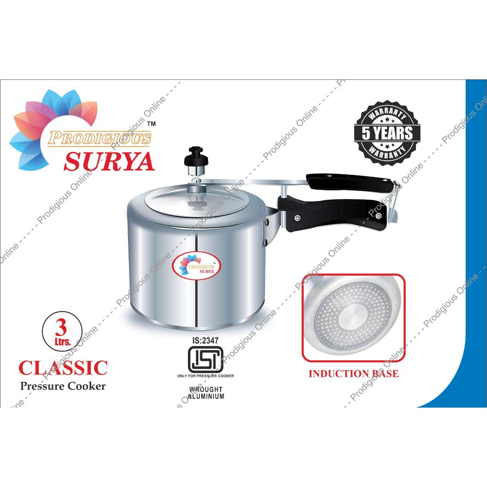 Prodigious Surya 3l Classic Pressure Cooker - Induction Base
