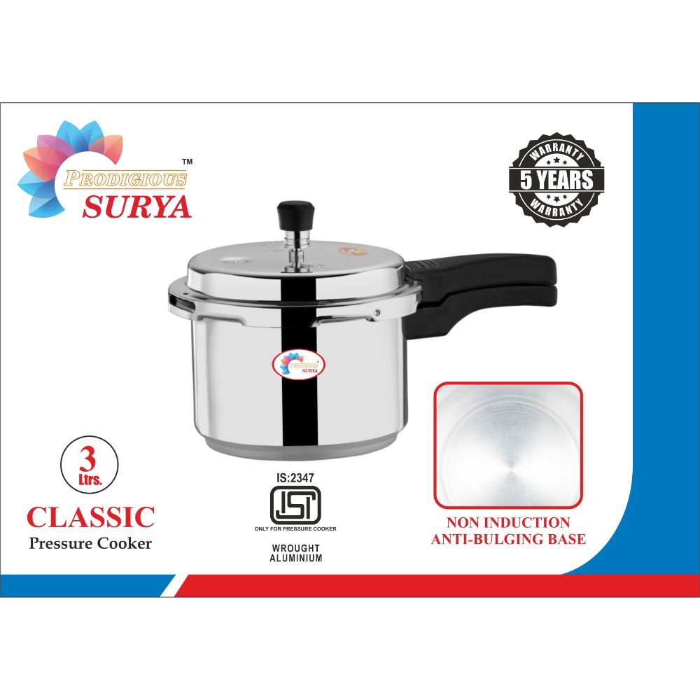 Prodigious Surya 3l Classic Pressure Cooker - Outer Lid Non Induction