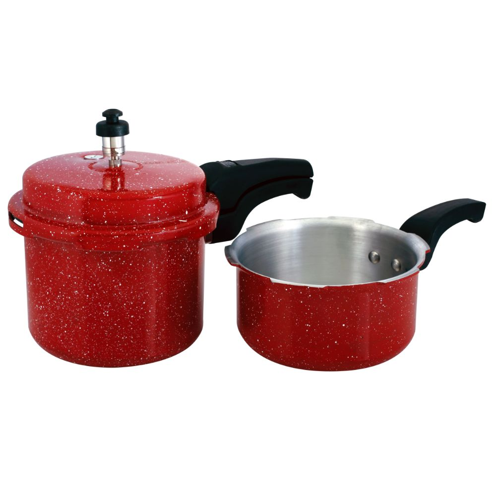 Chetan Ganga 3l Outer Lid Pressure Cooker Combo With 1 Lid - 3l And 2l Pressure Pan With 1 Lid - Red Color