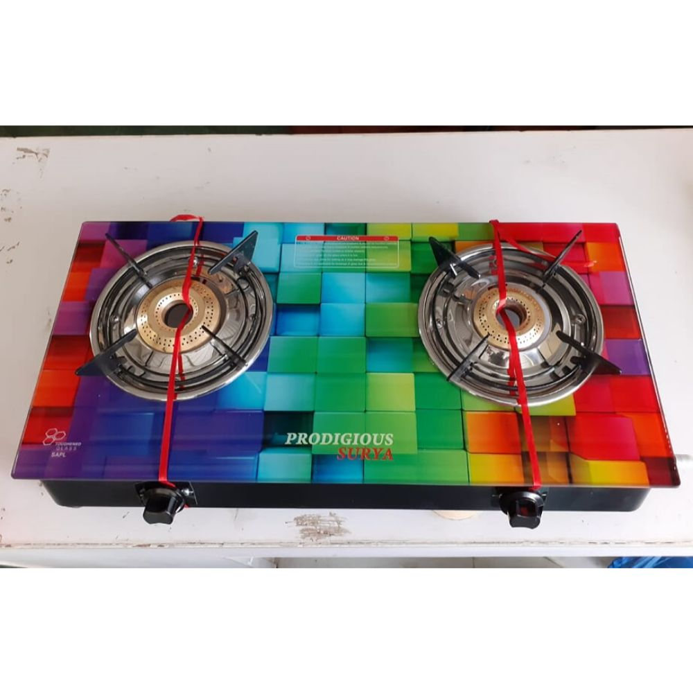 Prodigious Surya 2 Burner Smart Digital Glass Top Gas Stove - Fusion ci Burner - Cubes