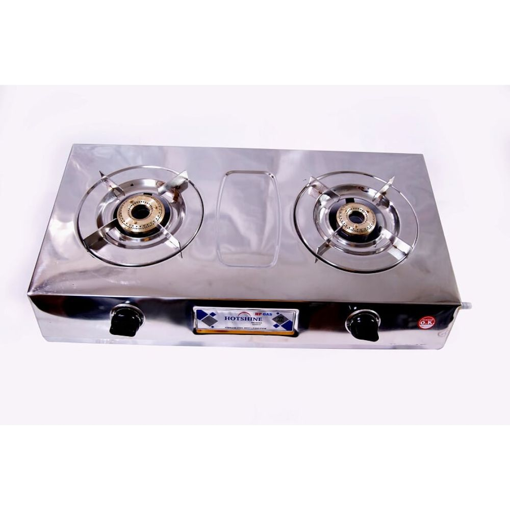 Surya Hotshine 2 Burner Stainless Steel Gas Stove With Brass Burner And Ss Pan Support weight With Box 3.2kg