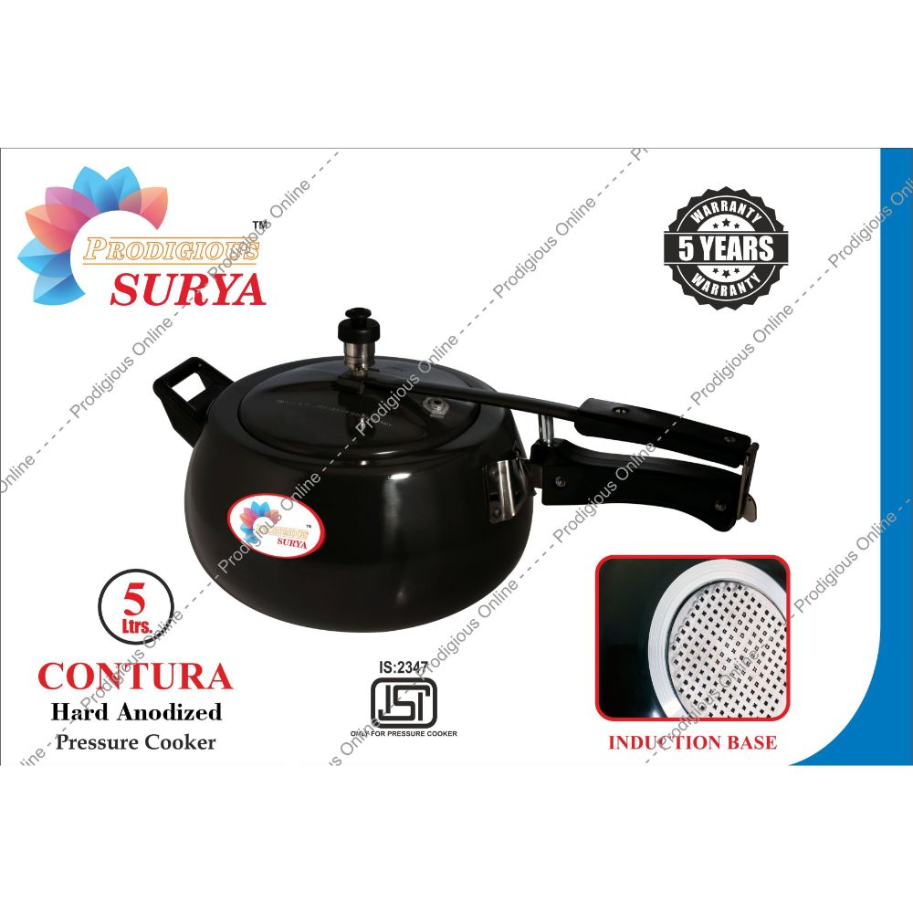Prodigious Surya 5L Contura Hard Anodized Pressure Cooker - Induction Base