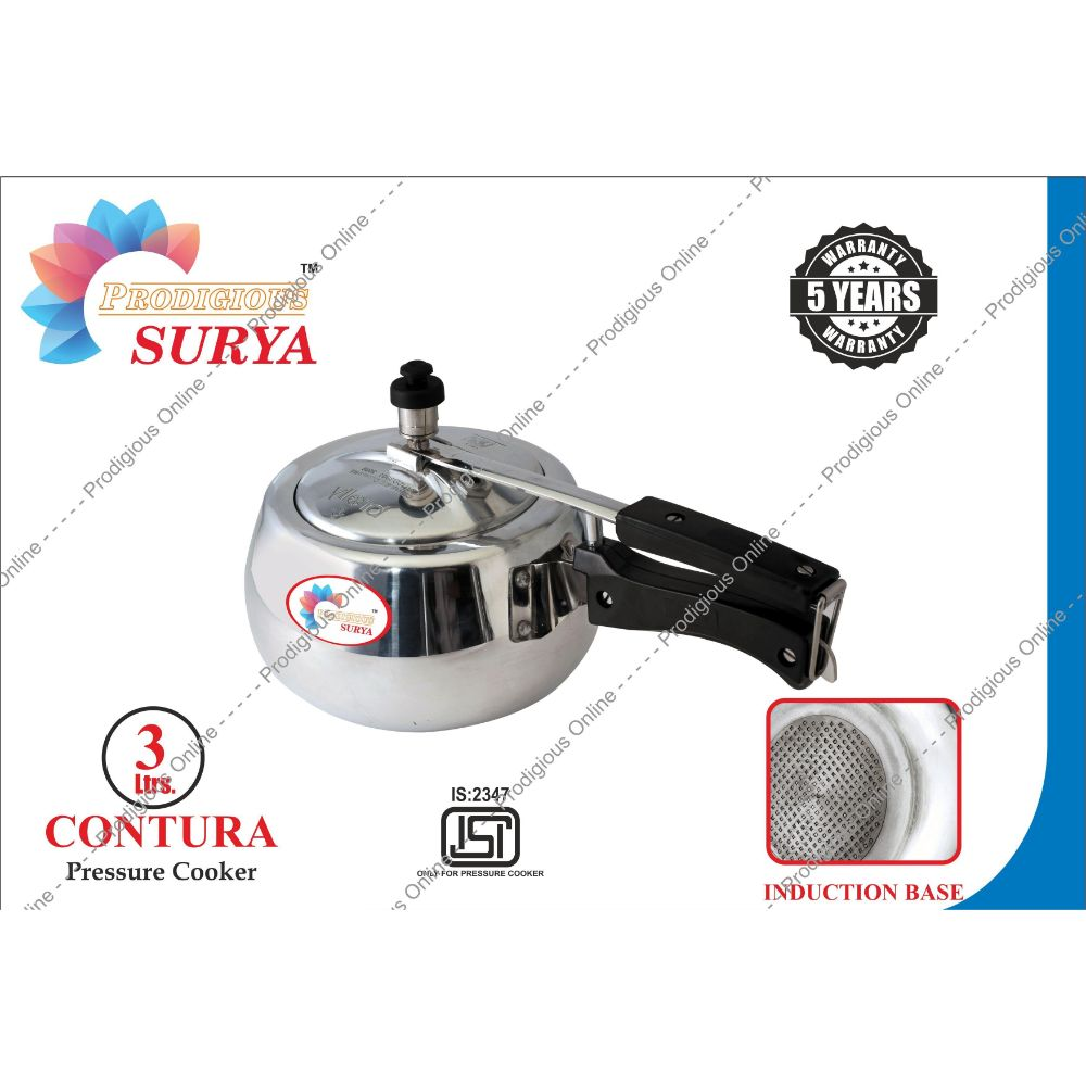 Prodigious Surya 3L Contura Pressure Cooker - Induction Base