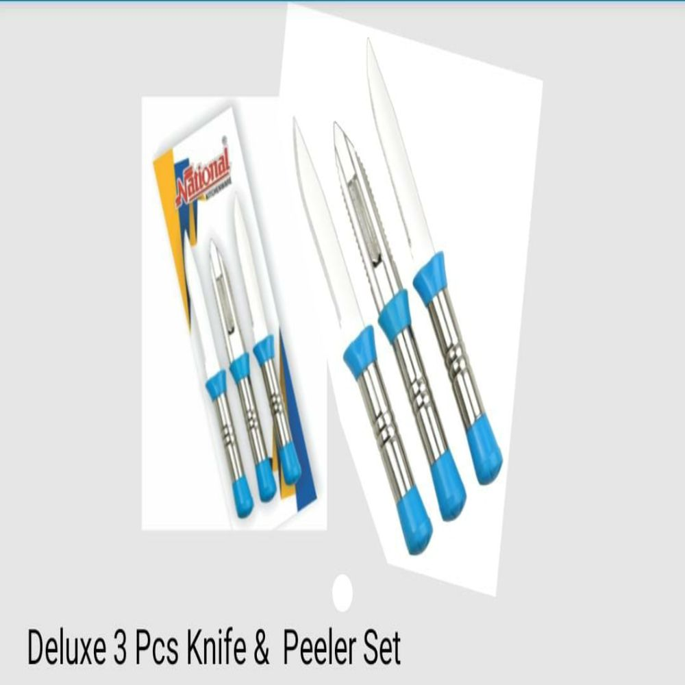 National Deluxe 3 Pcs Knife And Peeler Set