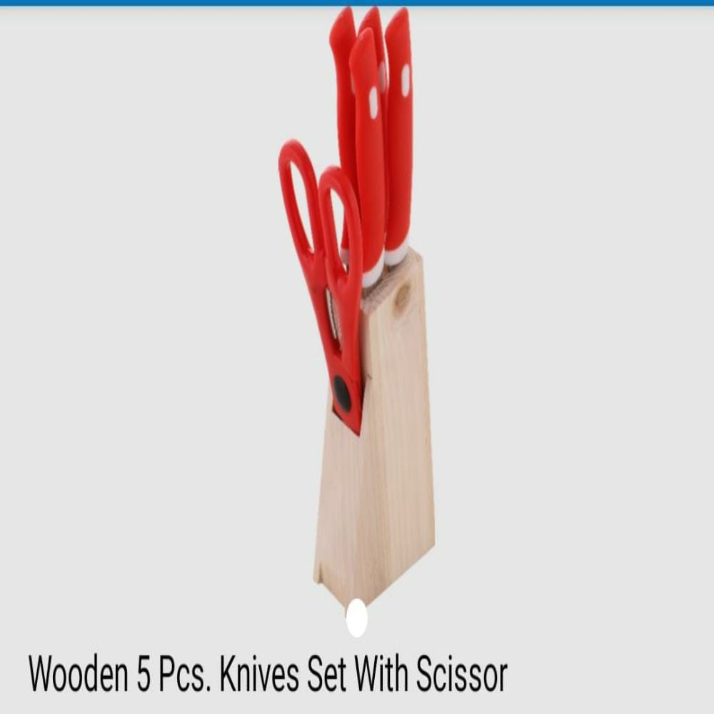 National Wooden 5 Pcs Knives Set With Scissor