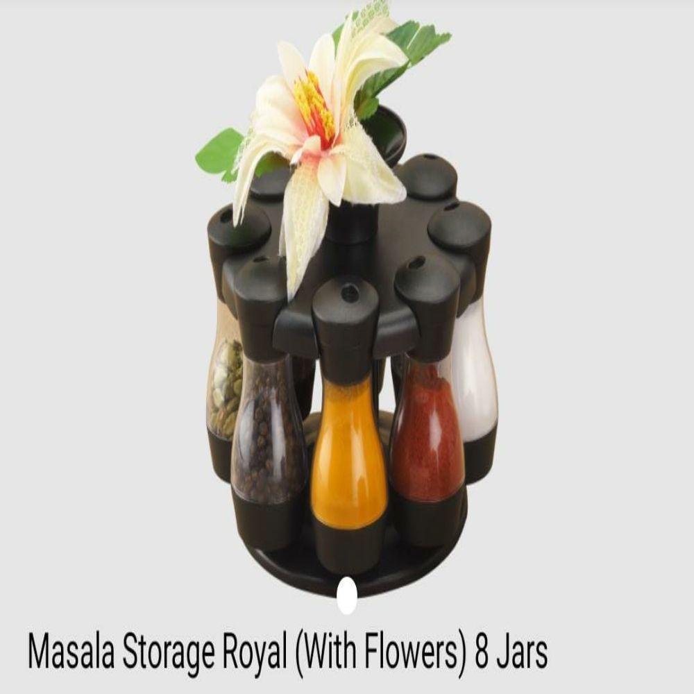 National Masala Storage Royal with Flowers 8 Jars