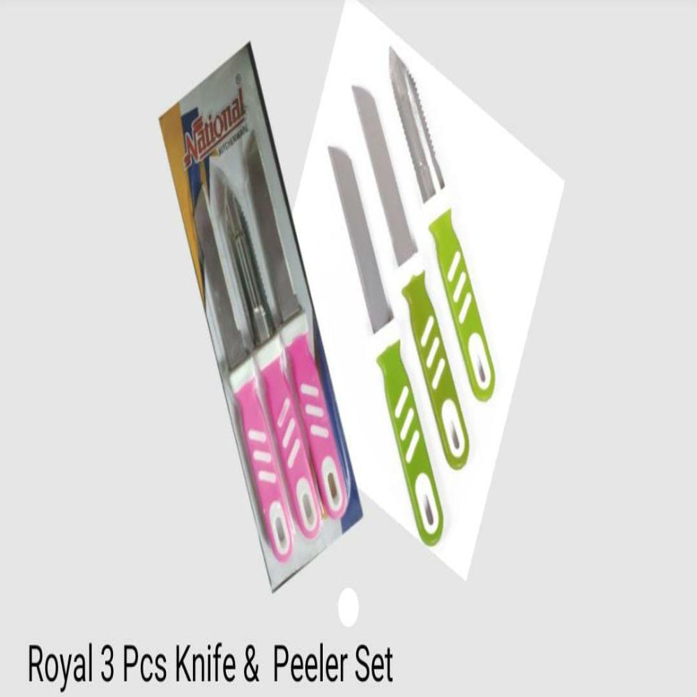 National Royal 3 Pc Knife And Peeler Set
