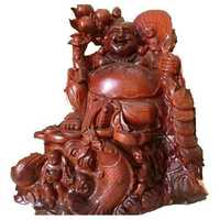 Red Wooden Laughing Buddha