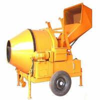 Reverse drum concrete mixer